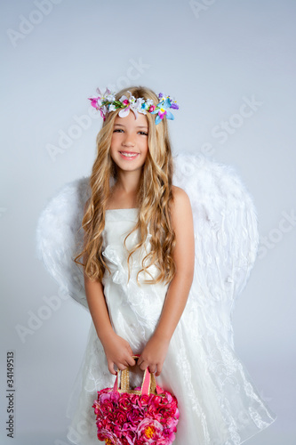 Angel children girl holding flowers bag with wings