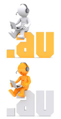 3d character sitting on .AU domain sign. Isolated on white