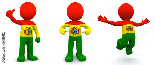 3d character textured with flag of Bolivia