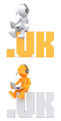 3d character sitting on .UK domain sign. Isolated on white