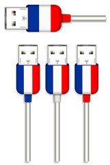 set of France usb isolated on white background