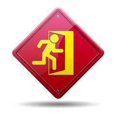 Señal roja simbolo salida emergencia