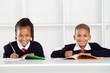 happy primary students portrait