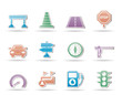 Road, navigation and traffic  icons - vector icon set