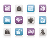 Post, correspondence and Office Icons - vector icon set poster