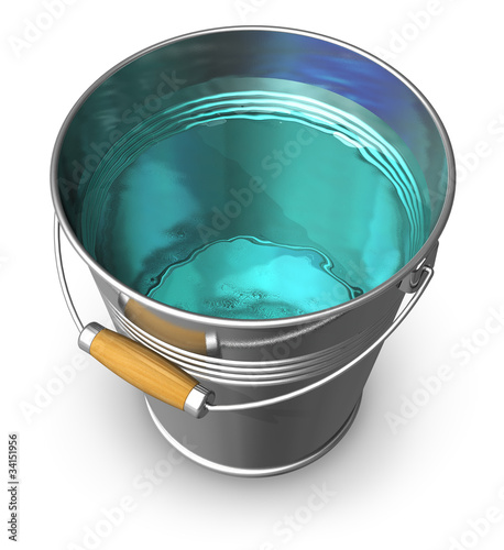 Metal bucket full of clear water - 34151956