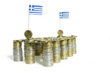 Euromünzen mit Griechenlandflaggen