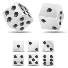 set of white dices isolated on white background