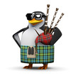 3d Penguin plays the bagpipes