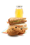 Apple juice, cookies, sandwiches
