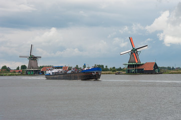 windmills at the zaanse schans in Holland