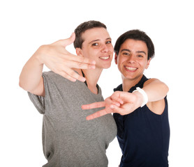 Sisters showing victory sign