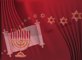 Vector Happy Hanukkah wish card