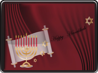 Vector Happy Hanukkah wish card
