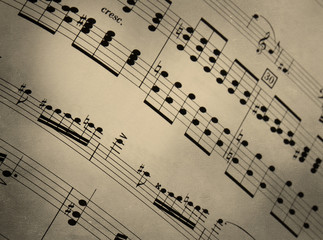 Spartito musicale su texture retro