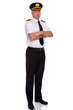 Airline pilot arms folded