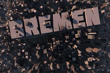 Luftansicht einer Stadt in 3D mit Schriftzug Bremen