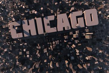 Luftansicht einer Stadt in 3D mit Schriftzug Chicago