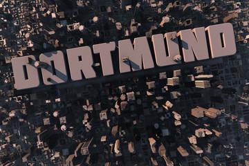 Luftansicht einer Stadt in 3D mit Schriftzug Dortmund