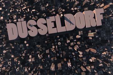 Luftansicht einer Stadt in 3D mit Schriftzug Düsseldorf