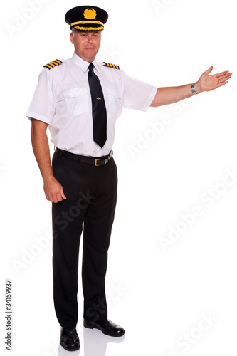 Airline pilot welcome gesture