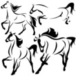 vector set of fine horses outlines