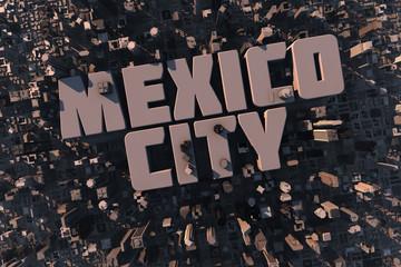 Luftansicht einer Stadt in 3D mit Schriftzug Mexico City