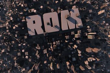 Luftansicht einer Stadt in 3D mit Schriftzug Rom