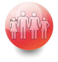 "Red Shiny Orb Button ""Family"""
