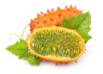 Ripe sliced kiwano fruits isolated on white