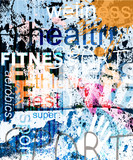 Fototapety FITNESS. Word Grunge collage on background.
