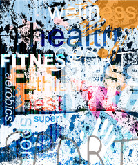 FITNESS. Word Grunge collage on background.