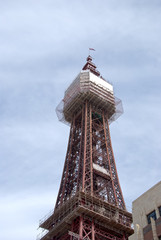 The Famous Tower of Blackpool under a blue sky