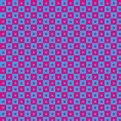 Blau Rosa Schachbrettmuster mit Sternchen