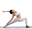 woman in white doing yoga - warrior asana isolated