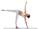 woman stand in yoga asana - half moon pose