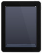 Tablet PC with empty grey screen.