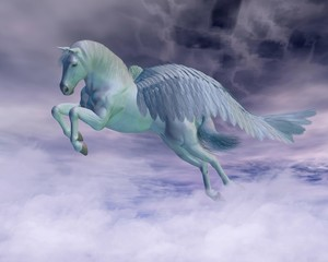 Pegasus Galloping through Storm Clouds