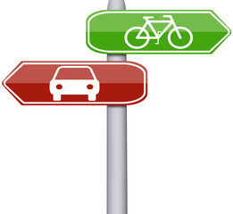 Bike and car sign
