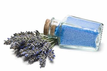 Jar with lavender bath salts.