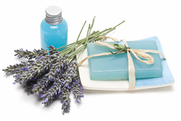 Lavender gel and soap for bathing.