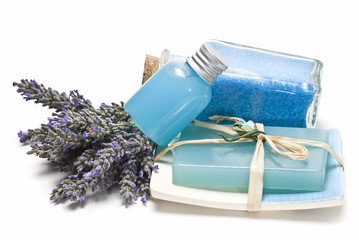 Bath salts, gel and soap made of lavender.