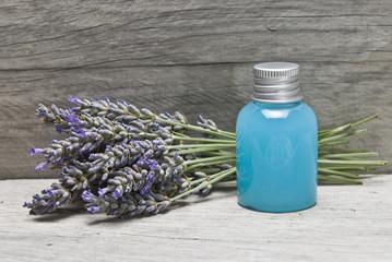 Lavender gel on a shelf.