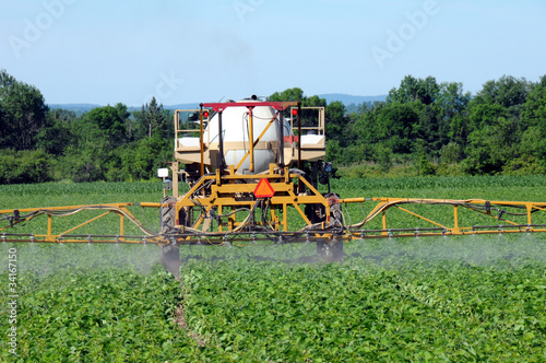 Close up of tractor spraying pesticides on crop