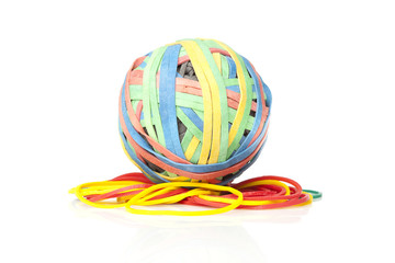 A colorful rubber band ball