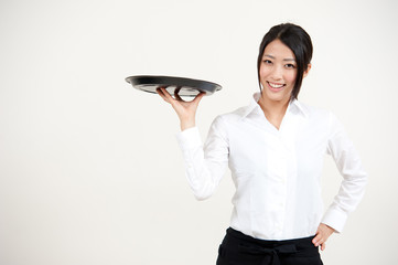 a portrait of asian waitress