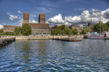 Oslo Radhuset from sea (HDR)