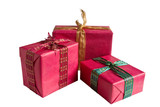 red gift boxes isolated with clipping path