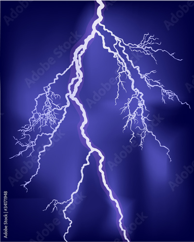 bright lightning in lilac sky illustration