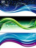 Set of abstract technology wave background/banner.